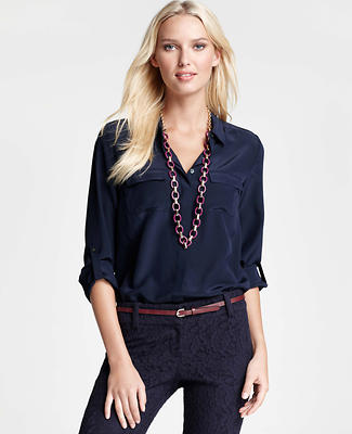 Silk Button Down Camp Shirt