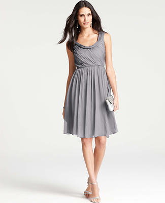 Silk Draped Cowl Neck Dress