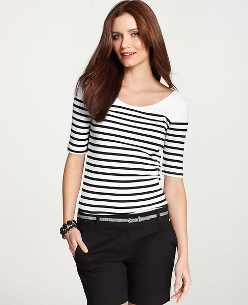 Ann Taylor Striped Double Scoop Neck Cotton Tee