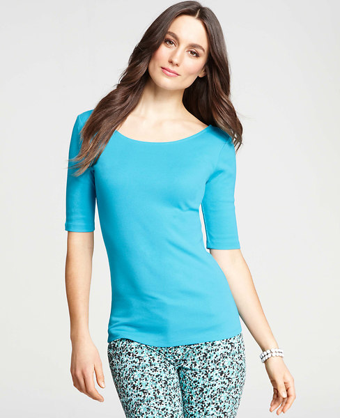 Ann Taylor Double Scoop Neck Cotton Tee