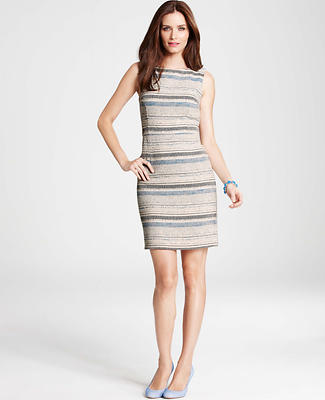 Textured Stripe Tweed Sheath Dress