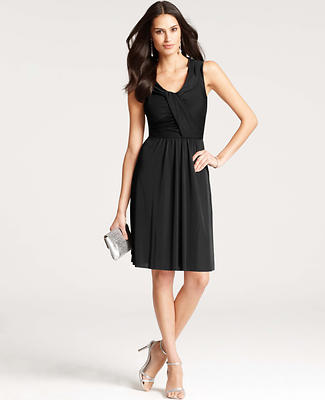 Satin Jersey Draped Scoop Neck Dress