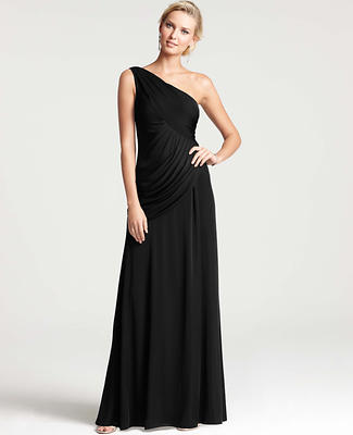 Petite Satin Jersey One Shoulder Gown