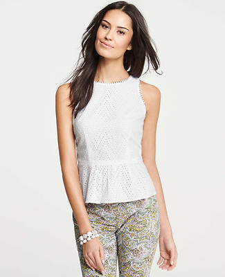 Zig Zag Cotton Eyelet Peplum Top
