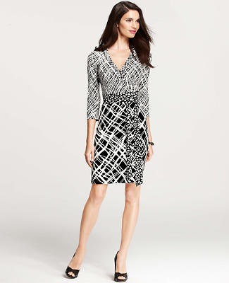 Mixed Print 3/4 Sleeve Wrap Dress