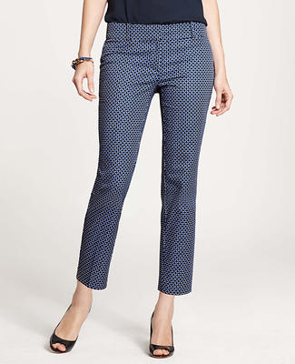 Lattice Print Stretch Cotton Cropped Pants