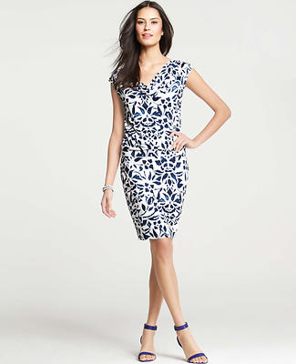 Floral Ikat Print Blouson Cap Sleeve Dress