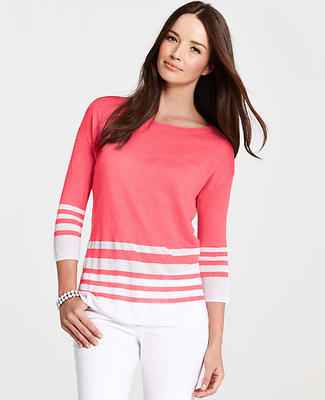Striped Linen Blend 3/4 Sleeve Sweater