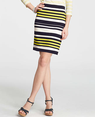 Striped Elastic Waist Pencil Skirt