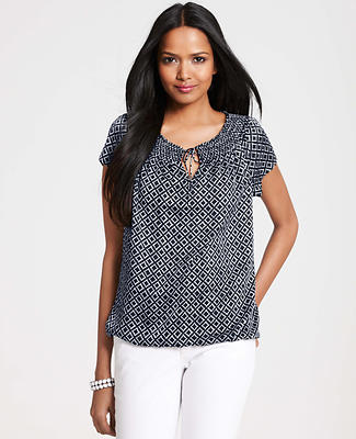 City Diamond Print Peasant Top