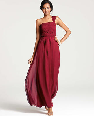 Silk Georgette One Shoulder Gown