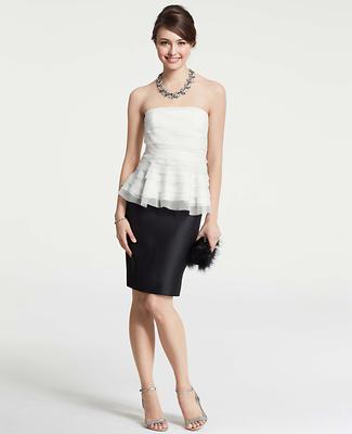 Silk Peplum Strapless Dress