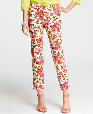 Retro Floral Print Stretch Cotton Ankle Pants