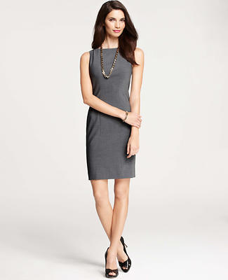 Tropical Wool Seamed Sheath Dress