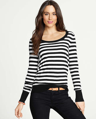Petite Striped Scoop Neck Sweater