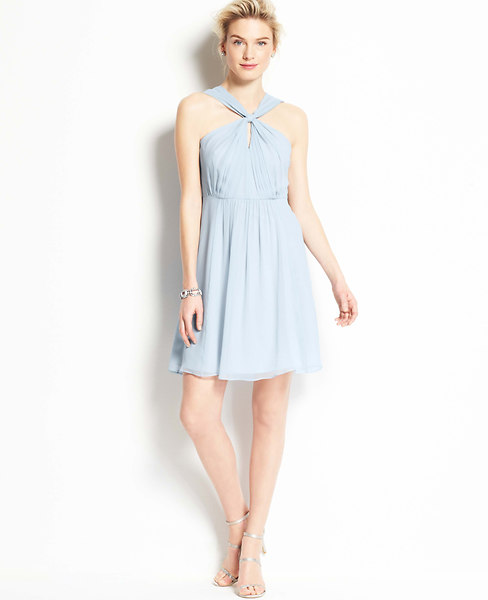 Silk Georgette Keyhole Halter Dress