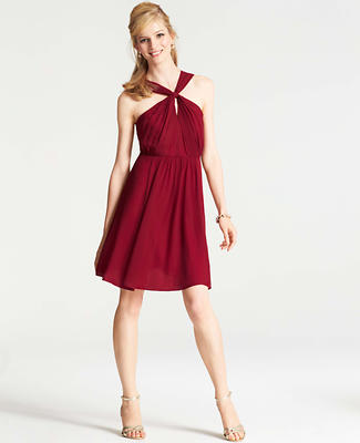 Silk Georgette Keyhole Halter Dress