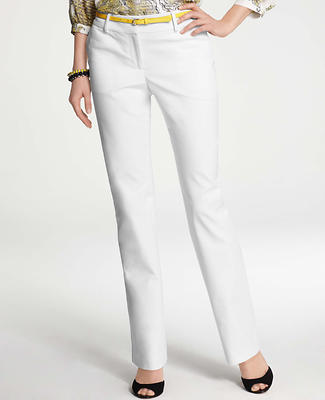 Curvy Cotton Sateen Straight Leg Pants