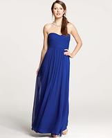 Silk Georgette Shirred Strapless Gown