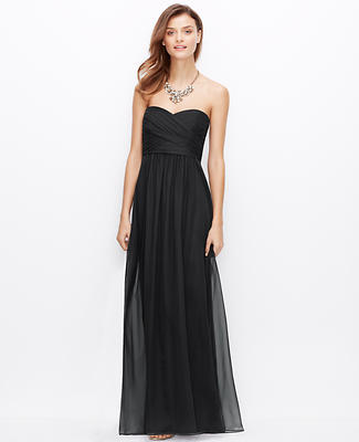 Silk Georgette Shirred Strapless Gown