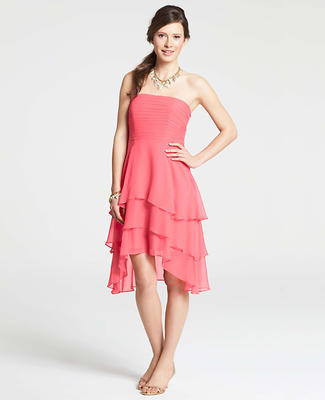 Silk Georgette Tiered Strapless Dress