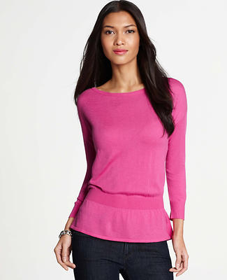 Ribbed Waist Peplum Sweater