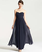 Petite Silk Georgette Shirred Strapless Gown