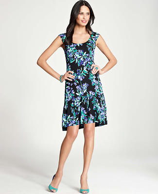 Blue Bell Print Flounce Dress