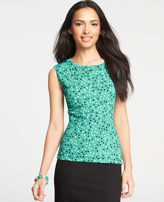 Fresh Dot Print Ribbed Peplum Sweater