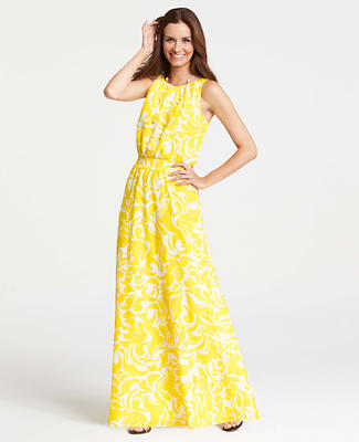 Summer Scroll Print Sleeveless Maxi Dress