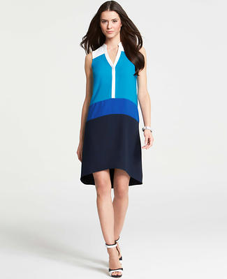 Colorblocked Sleeveless Shirtdress