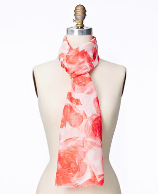 Brushstroke Floral Cotton Silk Scarf
