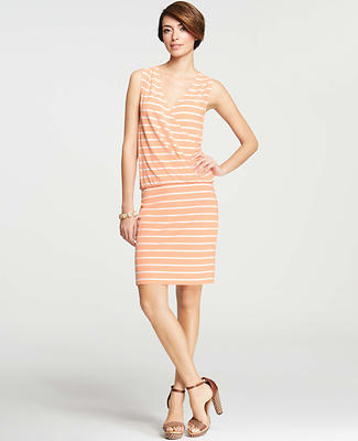 Striped Crossover Blouson Dress