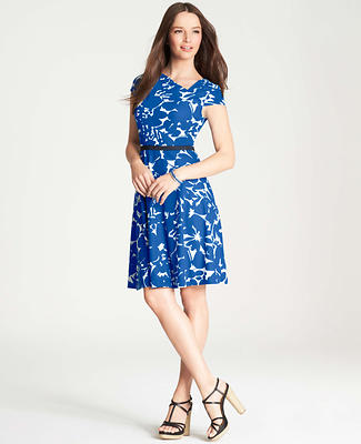 Floral Print Asymmetric Neck Dress