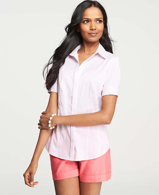 Petite Striped Perfect Stretch Cotton Short Sleeve Shirt