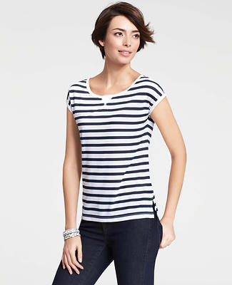 Striped V-Inset Tee