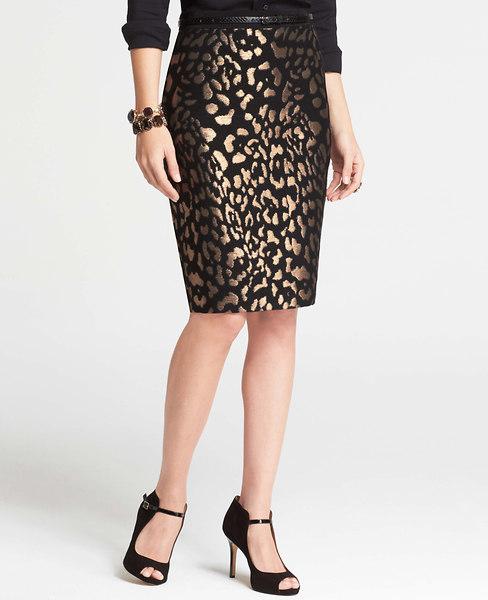 Ann Taylor Bronze Animal Jacquard Skirt