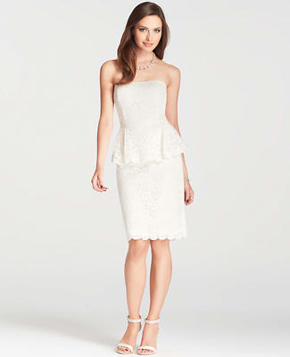 Petite Strapless Lace Peplum Dress
