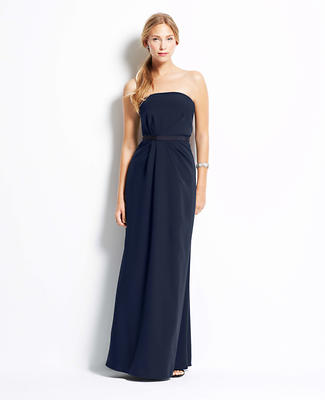 Crepe Strapless Gown