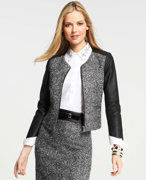 Ann Taylor Tall Faux Leather Sleeve Tweed Jacket