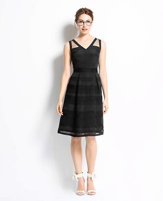 Dot Stripe Chiffon Dress