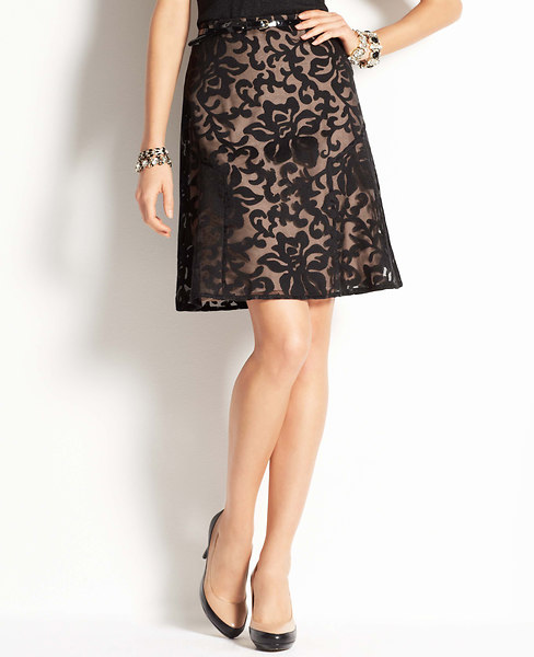 Ann Taylor Petite Graceful Leaves Jacquard Flounce Skirt