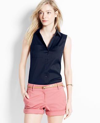 Perfect Stretch Cotton Sleeveless Shirt