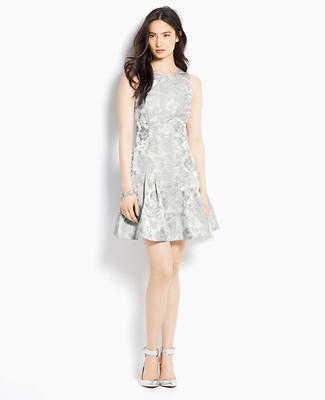 Cutout Back Floral Taffeta Jacquard Dress