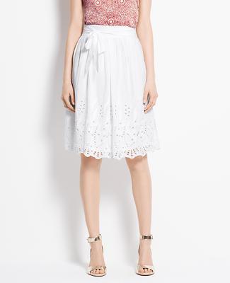 Cotton Silk Eyelet Skirt