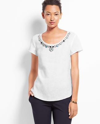 Embellished Linen Top