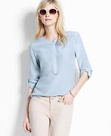 Tab Sleeve Silk Blouse