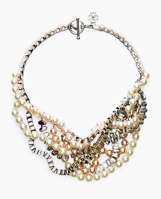 Pearlized Stone Statement Necklace