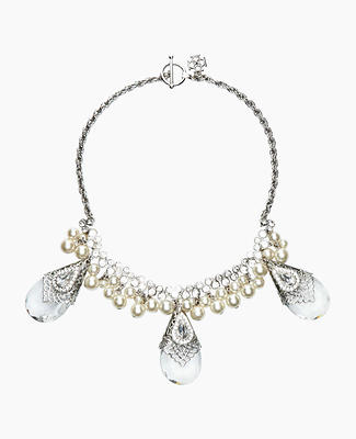 Pearlized Pear Stone Statement Necklace