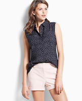 Anchor Print Sleeveless Camp Shirt